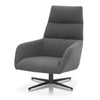 Nash Contemporary Swivel Club Chair Slate Fabric, Black