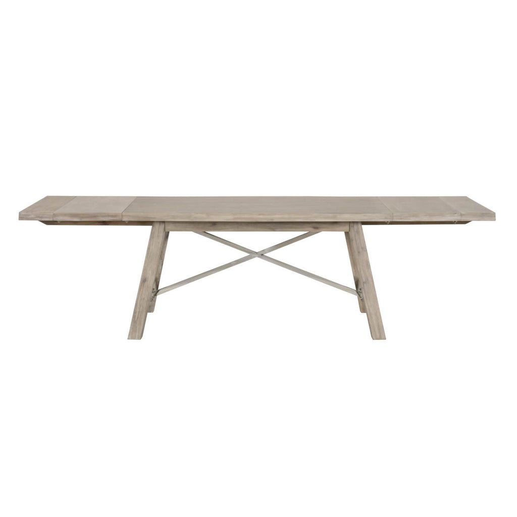 Dining Tables - Orient Express Furniture 6088.NG Nixon Extension Dining Table Natural Gray, Brushed Stainless Steel | Acacia Veneer | 842279107932 | Only $1799.00. Buy today at http://www.contemporaryfurniturewarehouse.com