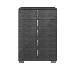 Star International Furniture 2125.GBHG Noble High Chest Grey Birch High Gloss, Chrome Foil Trim | Acrylic Lacquer