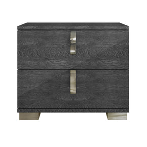 Nightstands - Star International Furniture 2124.GBHG Noble Nightstand Grey Birch High Gloss, Chrome Foil Trim | Acrylic Lacquer | 842279100858 | Only $449.00. Buy today at http://www.contemporaryfurniturewarehouse.com
