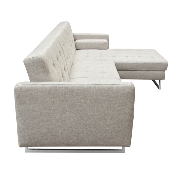 Opus Convertible Tufted RF Chaise Sectional - BARLEY