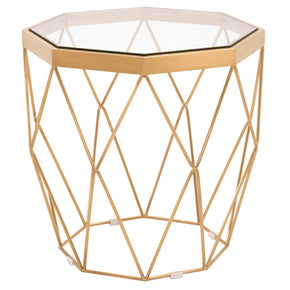 Orient Express Furniture 8069.BGLD Origami End Table Brushed Gold, Clear Glass