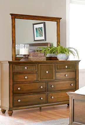 Progressive Furniture P111-23/50 Cotswold Grove Transitional Drawer Dresser And Mirror Root Beer