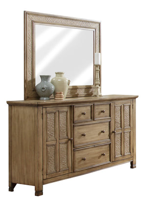 Progressive Furniture P196-24 Kingston Isle Transitional Door Dresser Sand