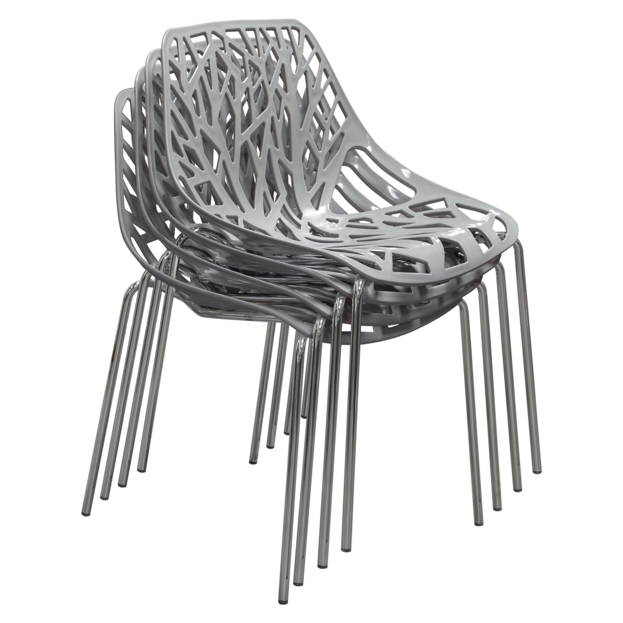 ... Diamond Sofa PEPPERDCGR4PK Pepper 4 Pack Accent Chairs In Grey Laser Cut  Polypropylene (PP ...