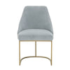 Parissa Coastal Velvet Dining Chair with Brushed Gold (Set of 2)