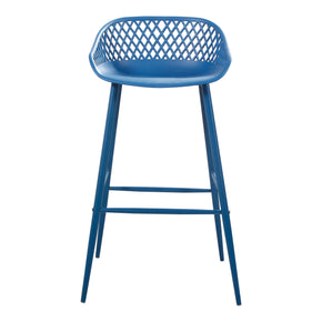 Moe's Home Collection QX-1004-26 Piazza Outdoor Bar Stool Blue-Set Of Two