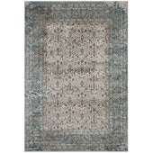 Modway R-1103-58 Dilys  Distressed Vintage Floral Lattice 5x8 Area Rug Teal, Brown and Beige 889654114956