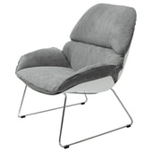 Diamond Sofa RELAXACHGR Relaxa Accent Chair in Grey Fabric with White Polypropylene (PP) Shell and Chrome Frame