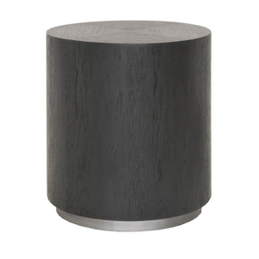 Star International Furniture 4609.OAK/SLV Roto End Table Carbon Oak, Brushed Metal Base | Oak Veneer