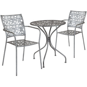"Flash Furniture SF-10-TC-GG Agostina Series 35.25"" Round Antique Silver Indoor-Outdoor Steel Patio Table with 4 Stack Chairs 889142492610"