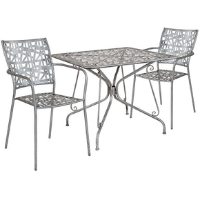 "Flash Furniture SF-11-TC-GG Agostina Series 35.25"" Square Antique Silver Indoor-Outdoor Steel Patio Table with 2 Stack Chairs 889142492597"