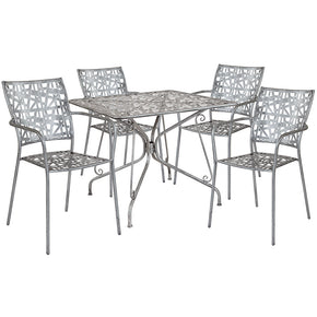 "Flash Furniture SF-12-TC-GG Agostina Series 35.25"" Square Antique Silver Indoor-Outdoor Steel Patio Table with 4 Stack Chairs 889142492580"