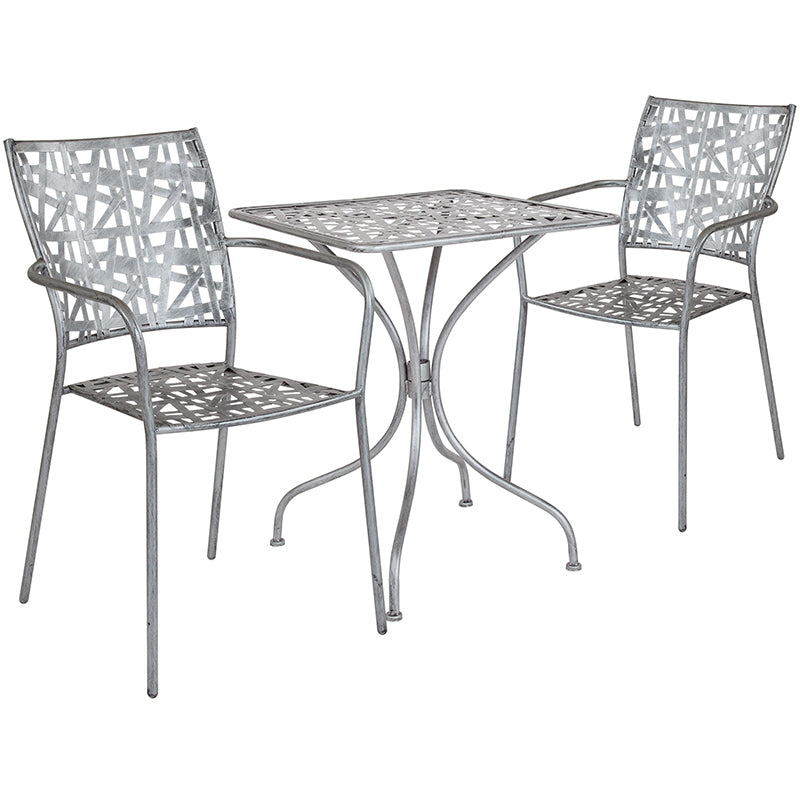 Silver Patio Furniture.Buy Flash Furniture Sf 2 Tc Gg Agostina Series 23 5 Square Antique Silver Indoor Outdoor Steel Patio Table With 2 Stack Chairs At Contemporary
