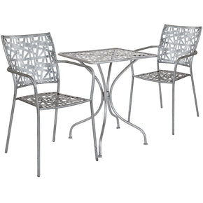 "Flash Furniture SF-2-TC-GG Agostina Series 23.5"" Square Antique Silver Indoor-Outdoor Steel Patio Table with 2 Stack Chairs 889142492030"