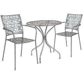 "Outdoor Dining Sets - Flash Furniture SF-3-TC-GG Agostina Series 27.5"" Round Antique Silver Indoor-Outdoor Steel Patio Table with 2 Stack Chairs 
