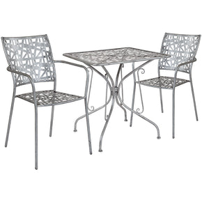 "Flash Furniture SF-4-TC-GG Agostina Series 27.5"" Square Antique Silver Indoor-Outdoor Steel Patio Table with 2 Stack Chairs 889142492528"