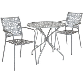 "Flash Furniture SF-5-TC-GG Agostina Series 31.5"" Round Antique Silver Indoor-Outdoor Steel Patio Table with 2 Stack Chairs 889142492603"