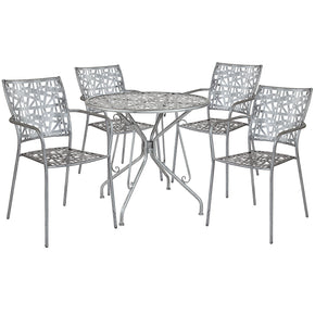 "Flash Furniture SF-6-TC-GG Agostina Series 31.5"" Round Antique Silver Indoor-Outdoor Steel Patio Table with 4 Stack Chairs 889142492573"