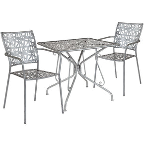 "Flash Furniture SF-7-TC-GG Agostina Series 31.5"" Square Antique Silver Indoor-Outdoor Steel Patio Table with 2 Stack Chairs 889142492566"