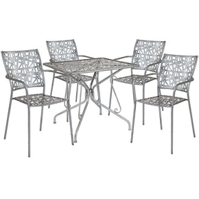 "Flash Furniture SF-8-TC-GG Agostina Series 31.5"" Square Antique Silver Indoor-Outdoor Steel Patio Table with 4 Stack Chairs 889142492023"