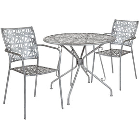 "Flash Furniture SF-9-TC-GG Agostina Series 35.25"" Round Antique Silver Indoor-Outdoor Steel Patio Table with 2 Stack Chairs 889142492542"