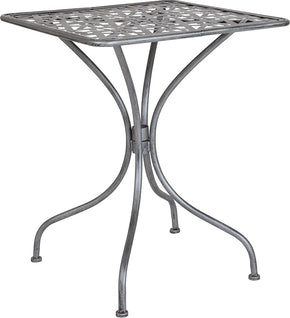 "Flash Furniture SF-CF-FJ-T047S-60-GG Agostina Series 23.5"" Square Antique Silver Indoor-Outdoor Steel Patio Table 889142399759"