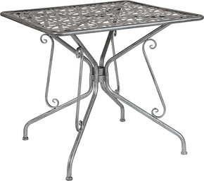 "Flash Furniture SF-CF-FJ-T047S-80-GG Agostina Series 31.5"" Square Antique Silver Indoor-Outdoor Steel Patio Table 889142399766"