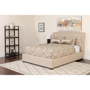 Flash Furniture SL-BM-132-GG Barletta Tufted Upholstered Twin Size Platform Bed in Beige Fabric with Pocket Spring Mattress 889142867234