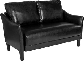 Flash Furniture SL-SF915-2-BLK-GG Asti Upholstered Loveseat in Black Leather 889142500285