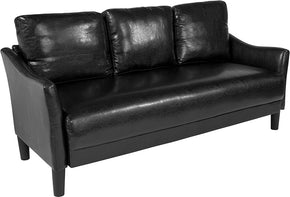 Flash Furniture SL-SF915-3-BLK-GG Asti Upholstered Sofa in Black Leather 889142500278