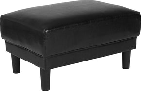Flash Furniture SL-SF915-O-BLK-GG Asti Upholstered Ottoman in Black Leather 889142500346