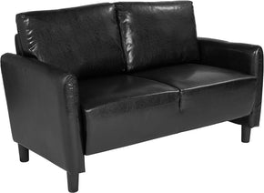 Flash Furniture SL-SF919-2-BLK-GG Candler Park Upholstered Loveseat in Black Leather 889142497936