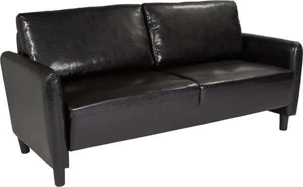 Flash Furniture SL-SF919-3-BLK-GG Candler Park Upholstered Sofa in Black Leather 889142499480