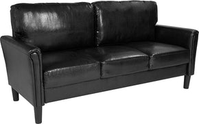 Flash Furniture SL-SF920-3-BLK-GG Bari Upholstered Sofa in Black Leather 889142500223