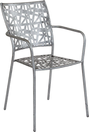 Flash Furniture SR-CF-FJ-A047-GG Agostina Series Antique Silver Indoor-Outdoor Steel Patio Stack Chair 889142399773