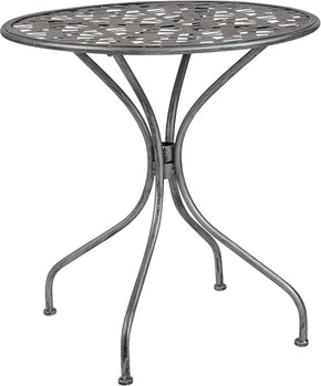 "Flash Furniture SR-CF-FJ-T047R-70-GG Agostina Series 27.5"" Round Antique Silver Indoor-Outdoor Steel Patio Table 889142399797"