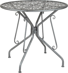 "Flash Furniture SR-CF-FJ-T047R-80-GG Agostina Series 31.5"" Round Antique Silver Indoor-Outdoor Steel Patio Table 889142399803"