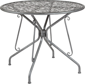 "Flash Furniture SR-CF-FJ-T047R-90-GG Agostina Series 35.25"" Round Antique Silver Indoor-Outdoor Steel Patio Table 889142399810"