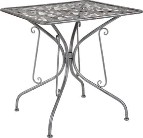 "Flash Furniture SR-CF-FJ-T047S-70-GG Agostina Series 27.5"" Square Antique Silver Indoor-Outdoor Steel Patio Table 889142399827"