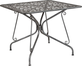 "Flash Furniture SR-CF-FJ-T047S-90-GG Agostina Series 35.25"" Square Antique Silver Indoor-Outdoor Steel Patio Table 889142399834"