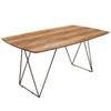 Star Rectangular Dining Table w/ Walnut Finished Top and Raw Metal Legs