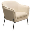 Status Accent Chair in Cream Fabric with Black Powder Coated Metal Leg