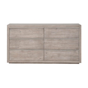 Orient Express Furniture 6072.NG/BSTL Steele 6-Drawer Dresser Natural Gray, Brushed Stainless Steel