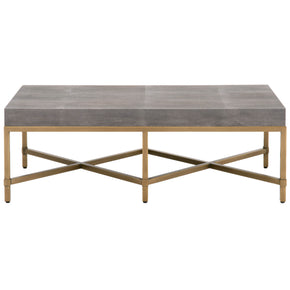Strand Coffee Table Gray Shagreen, Brushed Gold
