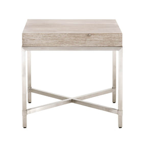 Orient Express Furniture 6118.NG/BSTL Strand End Table Natural Gray, Brushed Stainless Steel