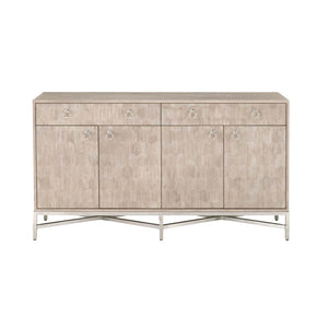 Orient Express Furniture 6114.NG/BSTL Strand Hexagon Sideboard Natural Gray, Brushed Stainless Steel