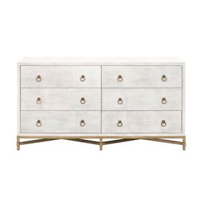 Orient Express Furniture 6122.WHT-SHG/GLD Strand Shagreen 6-Drawer Double Dresser White Shagreen, Brushed Gold