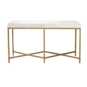Orient Express Furniture 6119.WHT-SHG/GLD Strand Shagreen Console Table White Shagreen, Brushed Gold