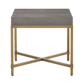 Orient Express Furniture 6118.GRY-SHG/GLD Strand Shagreen End Table Gray Shagreen, Brushed Gold